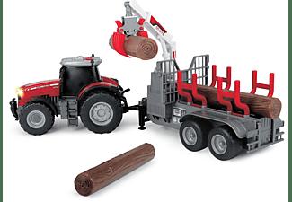 DICKIE TOYS Massey Ferguson 8737, Traktor mit Anhänger Spielzeugauto Mehrfarbig