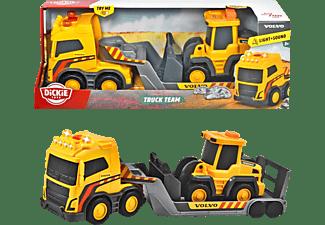 DICKIE TOYS Volvo Truck Team, Truck mit Anhänger und Radlader Spielzeugauto Gelb