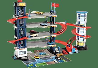 DICKIE TOYS Parkgarage, 4 Etagen, Aufzug, inklusive 4 Spielzeugautos und Hubschrauber Spielset Mehrfarbig