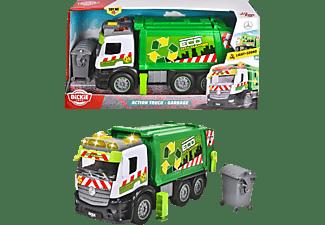 DICKIE TOYS Action Truck - Müllauto, Friktion, inkl. Müllcontainer, Licht & Sound Spielzeugauto Grün