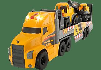 DICKIE TOYS Mack/Volvo großer LKW mit 2 Volvo Fahrzeugen auf Anhänger, Bagger & Radlader Spielzeugauto Gelb