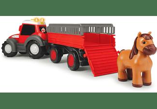 DICKIE TOYS Happy Massey Ferguson Animal Trailer, Traktor mit Anhänger Spielzeugauto Rot