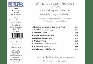 Elena De/ensemble Il Mosaico Simone - ARIE DALL'OPERA SOFONISBA  - (CD)