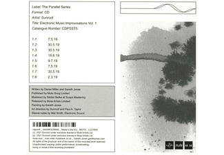 Sunroof - ELECTRONIC MUSIC IMPROVISATIONS VOL  - (CD)