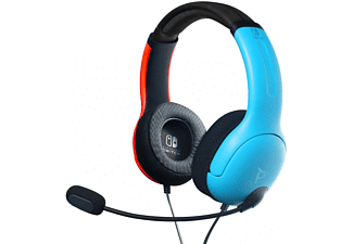 Auriculares gaming - PDP LVL40, Con Cable, Micrófono, Para Nintendo Switch, Rojo y Azul Neón