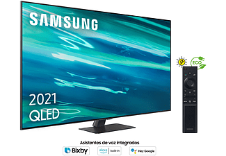 "TV QLED 75"" - Samsung QE75Q80AATXXC, UHD 4K, Smart TV, HDR10+, Tizen, Motion Xcelerator, Control de voz, Plata"