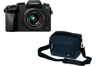 Cámara EVIL - Panasonic Lumix DMC-G7 KEC-K, 16 Mp, 4K + Lumix 14-42MM F3.5-5.6 I.O.S + Bolsa