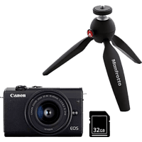 Cámara EVIL - Canon EOS M200, M15-45 24.1 mp, Pantalla 7.5 cm, Vídeos 4K, WiFi, Bluetooth, Negro