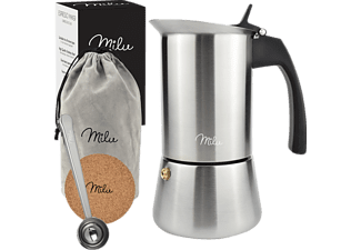 MILU 6581 4 Tassen Espressokocher Silber