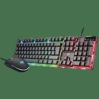 Pack teclado + ratón - Trust GXT 838 Azor, Gaming, Retroiluminación, Con cable, Negro