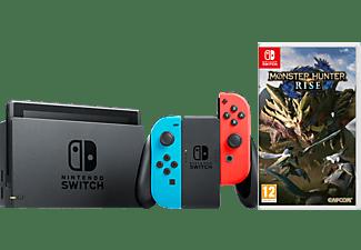 NINTENDO Switch Neonrot/blau + Monster Hunter Rise