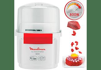 Picadora - Moulinex AD560120, 800 W, 200 g/250 ml, Acero inoxidable, Cuchilla doble, Sistema 1-2-3, Blanco