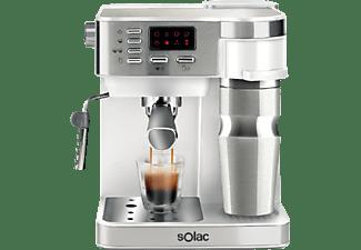 Cafetera express - Solac S92011600 CE4497, Espresso 850W + Goteo 600W, 1.2 l, 20 bar, 2 Tazas, Blanco