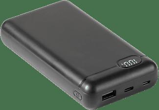 VIVANCO Power Bank mit LCD Display und Adapter Kabel, 20.000mAh, schwarz
