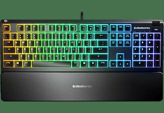 Teclado gaming - SteelSeries Apex 3, Mecánico, USB, Iluminación RGB, Anti-Ghosting, IP32, Negro