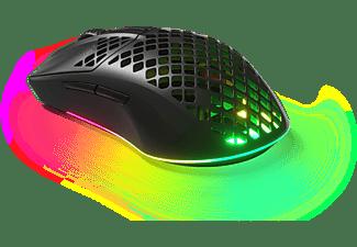 Ratón gaming - SteelSeries Aerox 3 Wireless, Inalámbrico, 18000 ppp, Bluetooth, RF Inalámbrico, IP54, Negro