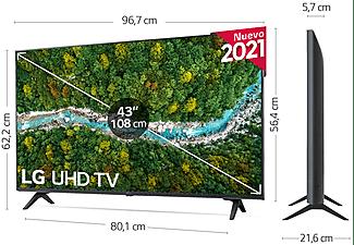 """TV LED 43"""" - LG 43UP77006LB.AEU, UHD 4K, QuadCore, webOS 6.0, Smart TV, Asistentes de voz, AI Sound, Negro"""