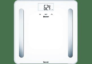 Báscula de baño - Beurer BF600, 180 kg, LCD, Apagado automático, 8 Memorias, Vidrio, Blanco