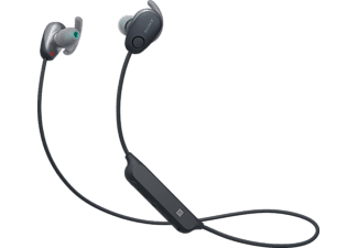 Auriculares inalámbricos - Sony WI-SP600N, Bluetooth, Noise Cancelling, IPX4, Micrófono, Negro