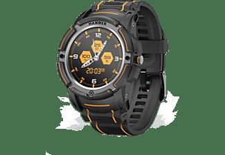 Reloj deportivo - Hammer Watch, 440 mAh, IP68, GPS, Bluetooth, Aluminio, Con correa de recambio, Negro