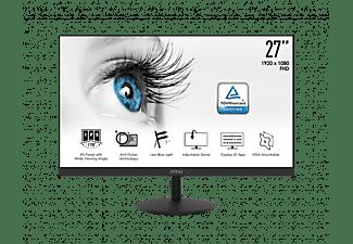 """Monitor - MSI PRO MP271, 27"""" FHD+, 5 ms, 75 Hz, IPS, Anti-Flicker, Compatible con VESA, Negro"""