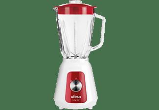 Batidora de vaso - Ufesa BS4717, 1500 W, 1.5 l, Jarra de cristal, 2 Velocidades, Rojo