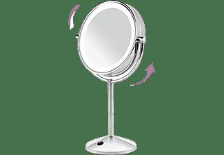 Espejo lumínico - BaByliss 9436E, 2 lados, Aumento 1x-10x, Luces LED, Pilas AAA, Inox