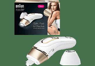 Depiladora IPL - Braun IPL PL5124, Luz pulsada, 400.000 flashes, Cuerpo y cara, de 1 a 5 piel, Dorado