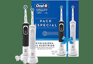Cepillo elécrico - Oral-B Set Vitality Cross Action, Recargables, Pack de 2 unidades, Blanco y negro