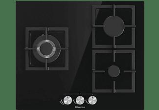 Encimera - Hisense GG633B, Gas butano, 3 quemadores, 7800 W, Vidrio templado, Control mecánico, Negro