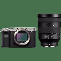 SONY Systemkamera Alpha 7C Silber Bundle mit Objektiv FE 24-105mm f4.0 G OSS Schwarz