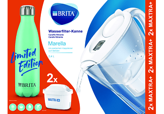 BRITA Marella Wasserfilter inkl. Edelstahl-Flasche und 2 Kartuschen