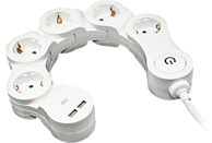 Regleta - ISY IPS-5000-W Pivoting Power Strip 5 AC+USB, Cinco enchufes, Flexible, Blanco