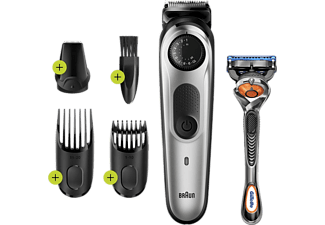 Barbero - Braun BT5260, Recargable, 39 ajustes de longitud, 0.5mm a 20mm, Incluye Gilette Fusion5, Plata
