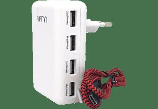 Pack cargador - Sveon SAC52, Compatible con Apple/Blackberry/Samsung/HTC/Motorola, 4 puertos USB, Blanco
