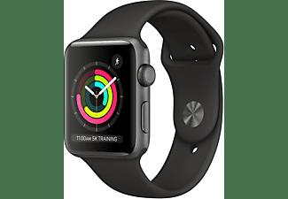APPLE Watch Series 3 GPS Space Grau, 42 mm Aluminiumgehäuse mit Sportarmband Schwarz