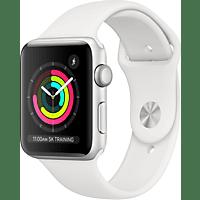 APPLE Watch Series 3 GPS Silber, 42 mm Aluminiumgehäuse mit Sportarmband Weiß