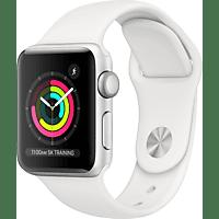 APPLE Watch Series 3 GPS Silber, 38 mm Aluminiumgehäuse mit Sportarmband Weiß