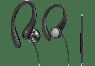 Auriculares deportivos - Philips TAA1105BK/00, Con cable, Clasificación IPX2, Negro