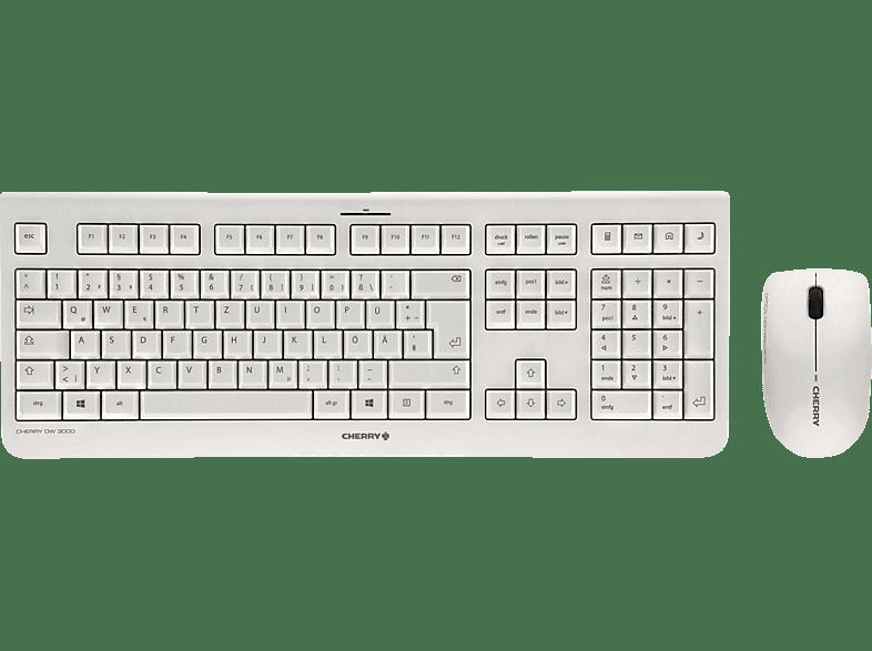 CHERRY DW 3000, Tastatur-Maus Set, Weiss Grau