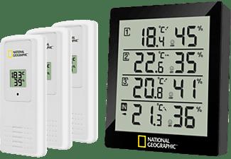 Estación meteorológica - Bresser National Geographic Termómetro e Higómetro, 4 Puntos de medición, Negro