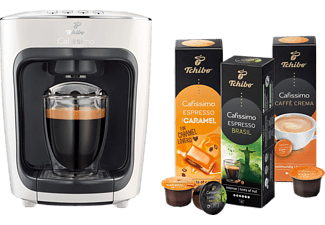 TCHIBO CAFISSIMO mini + 30 Kapseln (Espresso und Caffè Crema) Kapselmaschine Weiß