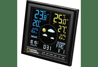 Estación meteorológica - Bresser National Geographic A Color VA, Radio DCF, Pantalla LCD en color, Negro
