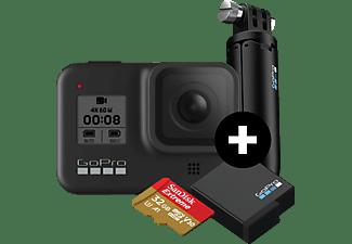 GOPRO HERO8 Black Holiday Bundle Action Cam 4k (60fps), 2.7k 120(fps), 1440p (120), 1080p (240fps) und mehr/Videoschleife/8x Slo-Mo, WLAN, Touchscreen