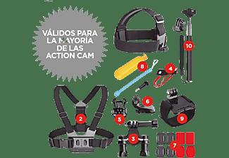Kit accesorios cámara deportiva - SK8 Pack Accesorios 10 en 1, 10 Accesorios, Negro