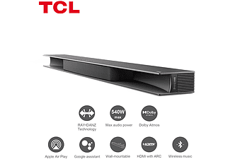 Barra de Sonido - TCL RAY•DANZ, Dolby Atmos, 540 W, WiFi, 3.1 Canales, Subwoofer Inalámbrico, Bluetooth