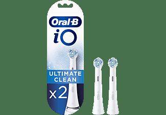 Recambio para cepillo dental - Oral-B iO Ultimate Clean, 2 cabezales, Blanco