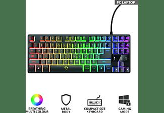 TRUST Gaming Tastatur GXT 833 Thado, LEDs RGB, USB, QWERTZ, Schwarz