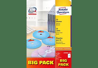 AVERY ZWECKFORM L7676A-40P CD-Etiketten 210 x 297 mm Ø 117 mm A4 Inhalt: 80 Etiketten / 40 Bogen