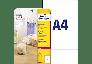 AVERY ZWECKFORM L7784-25 Transparente Etiketten 210 x 297 mm 210 x 297 mm A4 Inhalt: 25 Etiketten / 25 Bogen